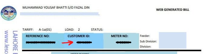 lesco customer id number