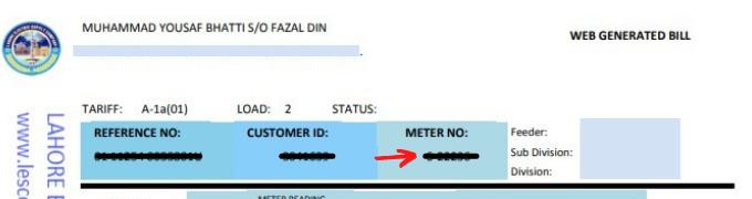 lesco meter number